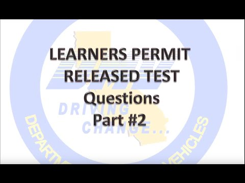 2017 DMV Test Permit Part 2 Questions Real Tests and Answers
