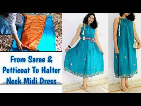Halter Neck Dress From Saree-petticoat/ Valentine Dress/Diy No Pattern Easy sew Dress