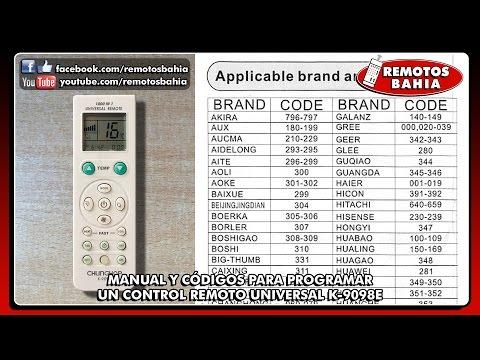 CÓDIGOS PARA PROGRAMAR CONTROL REMOTO UNIVERSAL K-9098E REMOTOS BAHIA