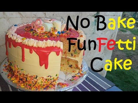No Bake Vanilla Butter Funfetti Cake | Funfetti cake recipe | Birthday cake recipe | Vanilla cake