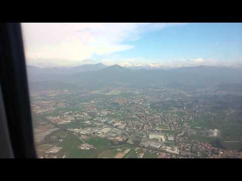 Ryanair landing at Milan Bergamo Airport, Italy