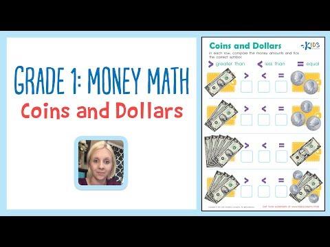 Grade 1: Money Math - Coins and Dollars worksheet | Kids Academy