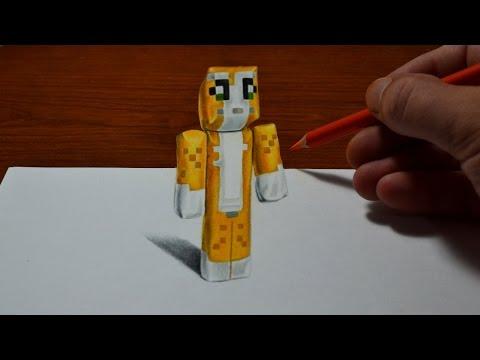 Drawing Minecraft Stampy Cat Doll - Cool 3D Trick Art