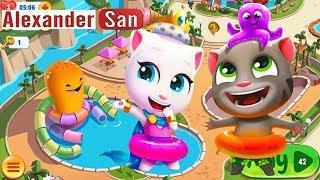 ГОВОРЯЩИЙ ТОМ АКВАПАРК #9 ДРУЗЬЯ Анджела Хэнк Бен и Джинджер игра видео для детей Talking Tom Pool