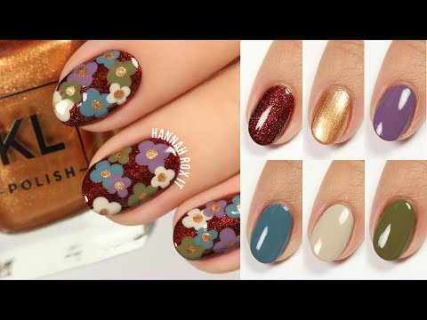 Retro Floral Nails + KL Polish 70's Vibe Live Swatches!