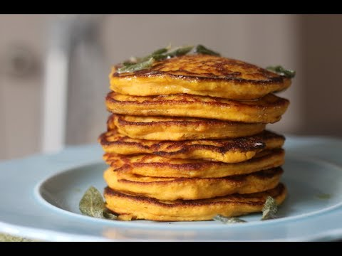 BUTTERNUT SQUASH PANCAKES WITH CRISPY SAGE TOPPING