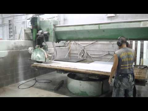 Wet saw cutting carrera marble