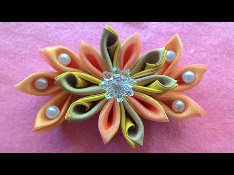 Diy _ how to make kanzashi flowers with beads and satin ribbon