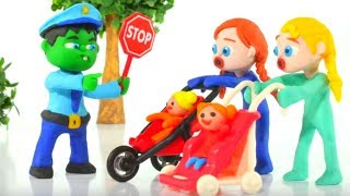 HULK POLICE STOPS FROZEN ELSA & ANNA ❤ Spiderman, Hulk & Frozen Elsa Play Doh Cartoons For Kids