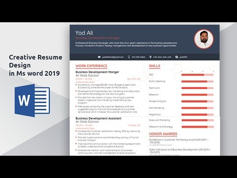 How to create and Design Creative Resume || CV in ms word 2016
