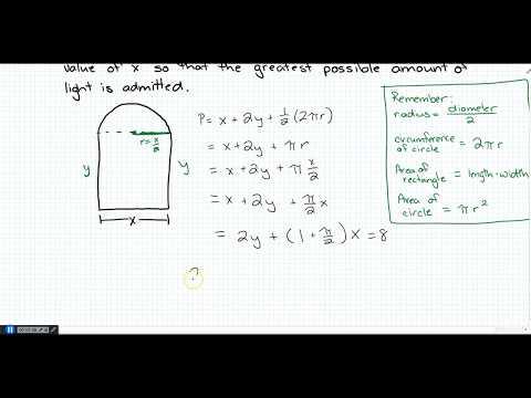 Norman Window Optimization (8 ft. perimeter) ( Like Stewart 4.7 #34)