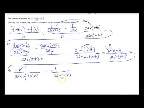 Evaluate Difference Quotient - Rational Function Example