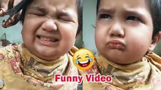 Little Baby Hair Cutting Video Going Viral On Internet | Funny Video | Grumpy cute kid