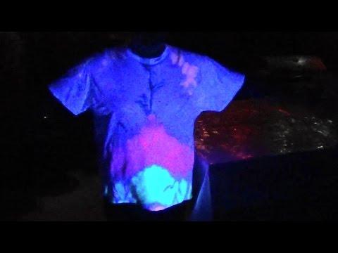 FLOURESCENT Side-Spiral TIE DYE Under BLACK LIGHT