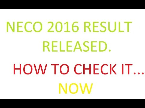 NECO releases 2016 JuneJuly SSCE results