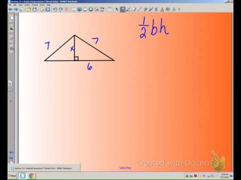 area of a triangle in simplest radical form