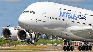FARNBOROUGH Air Show 2018 warm-up - AIRBUS A380 near - vertical Takeoff + Airshow
