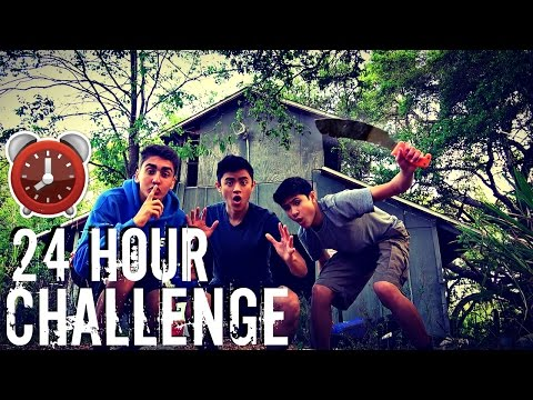 24 HOUR OVERNIGHT CHALLENGE IN ABANDONED HOUSE!!