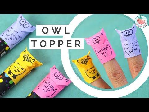 Origami Owl Tutorial! Paper Finger Puppet & Pencil / Marker Topper - Paper Crafts for Kids