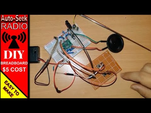 Simple DIY Home Made -  Auto scan FM radio receiver on breadboard