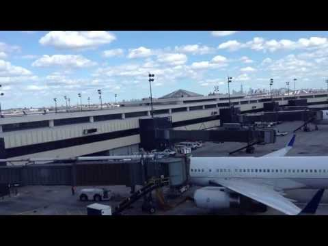 Riding on AirTrain from Terminal B to Terminal C at Newark Liberty International Airport