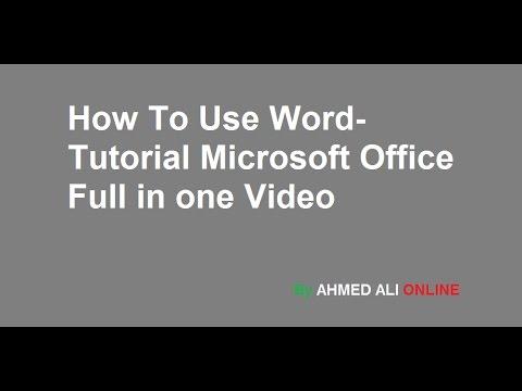 MS Word TUTORIAL URDU/HINDI Office  Complete course one video