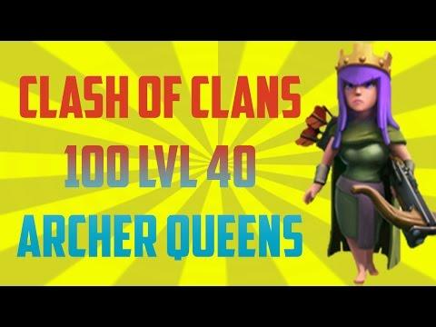 Clash Of Clans 100 ARCHER QUEENS !! INSANE !!