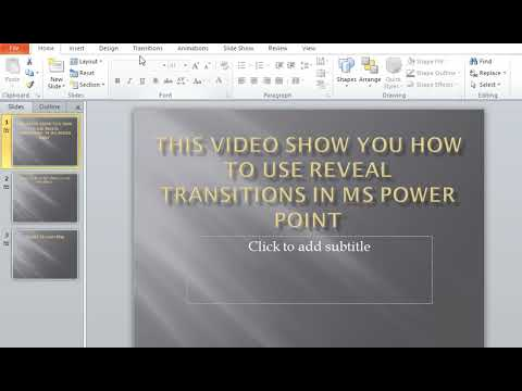 How to use Reveal Transitions in MS Power Point
