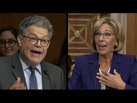 Al Franken Questions Betsy DeVos on Proficiency vs Growth | ABC News
