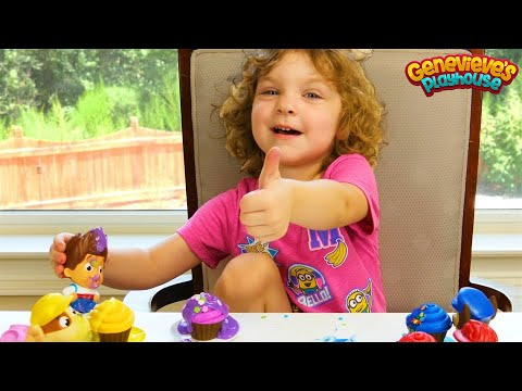 Genevieve makes Toy Cupcakes for Paw Patrol with Icing and Sprinkles!