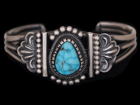 Navajo Sterling Silver and Morenci Turquoise Bracelet by Leon Martinez (#02)