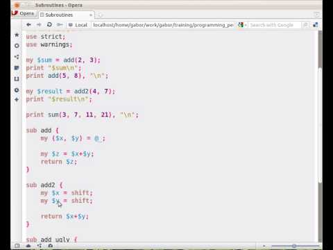 Beginner Perl Maven tutorial: 6.2 - defining subroutines