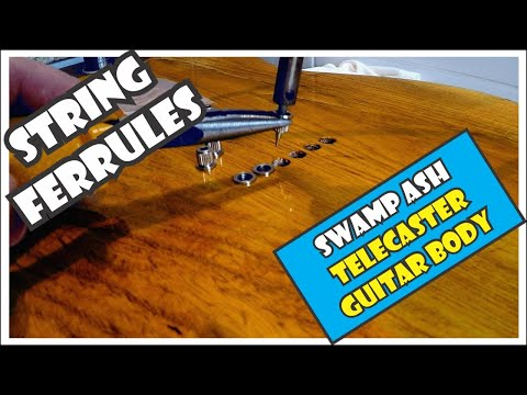 Installing string ferrules in a swamp ash Telecaster guitar body using a soldering iron [4/11]