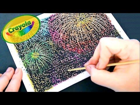 DIY Crayon Fireworks ● Fuegos artificiales con crayones ● Scratch art
