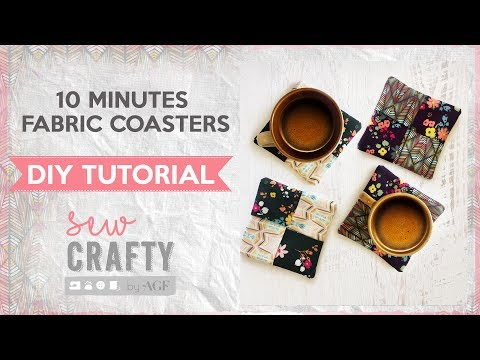 How to make fabric coasters in 10 minutes? - easy and fun sewing tutorial - Sew Crafty by AGF