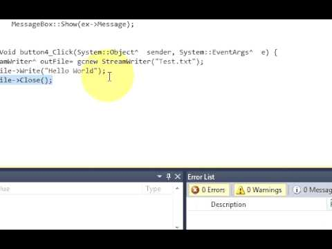 Visual C++ Tutorial 37 -Windows Forms Application:  Create a text file and write in it