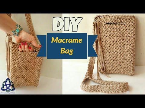How to make Macrame Bag Tutorial-  Easy Macrame Craft Idea