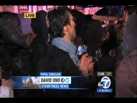 ABC7's David Ono interrupted by papal conclave's white smoke