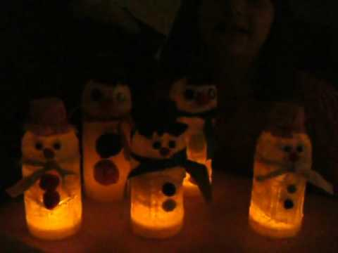 Craft time, making snowmen out of old bottles and LED tea light candles