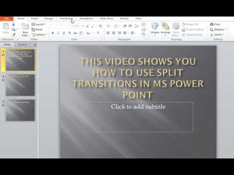 How to use Split Transitions in MS Power Point