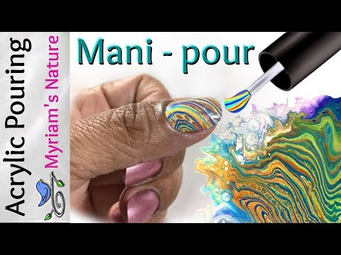 57] Acrylic Pouring for NAIL ART -  Custom Stretch Swirl/RING POUR for your MANICURE - Fluid Art