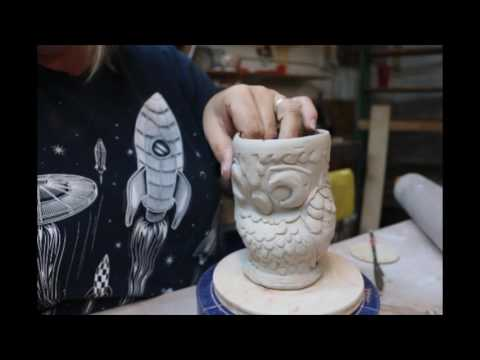 Making an Owl, Print on Clay