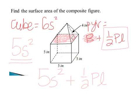 Surface area of composite - cube and pyramid