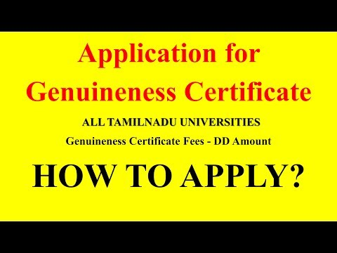 Application for Genuineness Certificate   ALL TAMILNADU UNIVERSITIES , HOW TO APPLY?