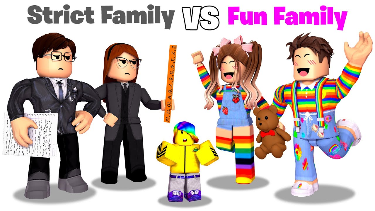 Roblox STRICT Family vs FUN Family.. 📝👪💖