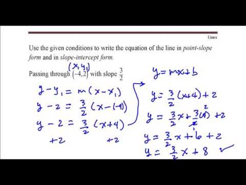 Write the equation of the line that passes through the point (-4,2) with slope 3/2