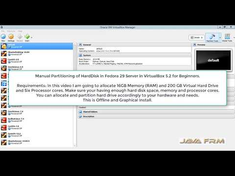 Manual Partitioning of HardDisk in Fedora 29 Server in VirtualBox 5.2 for Beginners.