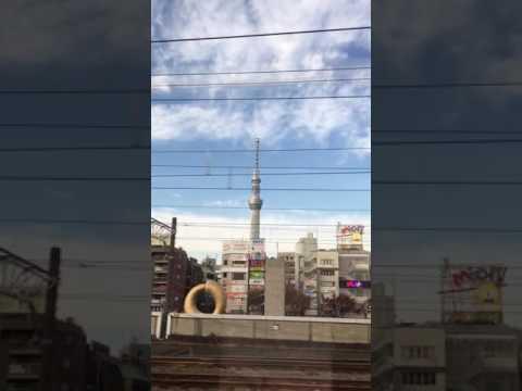 Tokyo sightseeing: Watching Tokyo Sky Tree from Narita Express