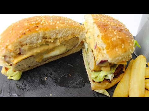 DOUBLE CHEESE CHICKEN BURGER - ڈبل چیز چکن برگر - डबल चीज़ चिकन बर्गर *COOK WITH FAIZA*