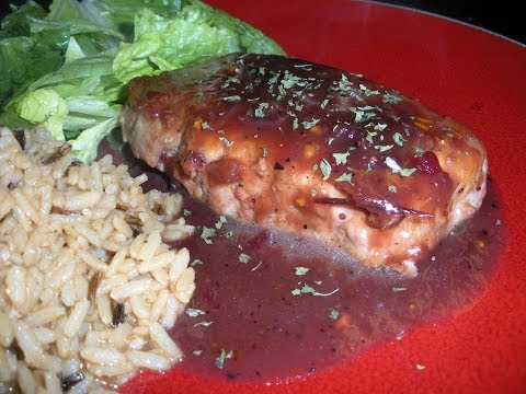 Pork Chops with Savory Cranberry Sauce -7 WW points!